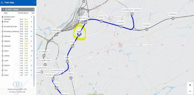 Sur la carte, on remarque que le train IC en direction de Dinant va bientôt arriver à Bordet. Il est parti de la gare de Brussels Airport - Zaventem à 10h17., SNCB
