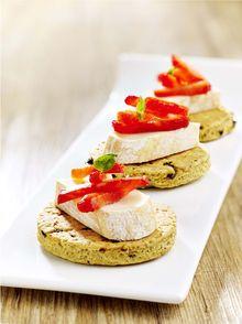 Petit sablé tomate, pesto et Reblochon