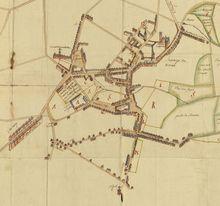 Archives générales du Royaume, Cartes et Plans : carte figurative de la ville et terre franche de Gosselies, de Sart-les-Moines et de leurs environs, dressée en 1785.